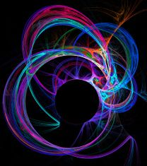illustration background fractal abstraction neon circles and cop stock photo
