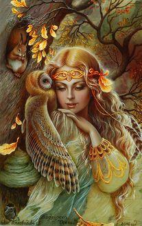 Девушка с совой на плече, работа Подружка Осень, художница Беловодова