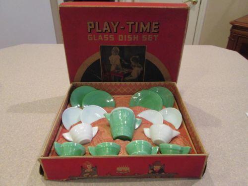 Vintage Akro Agate Playtime Glass Tea Set 16 Pieces | eBay