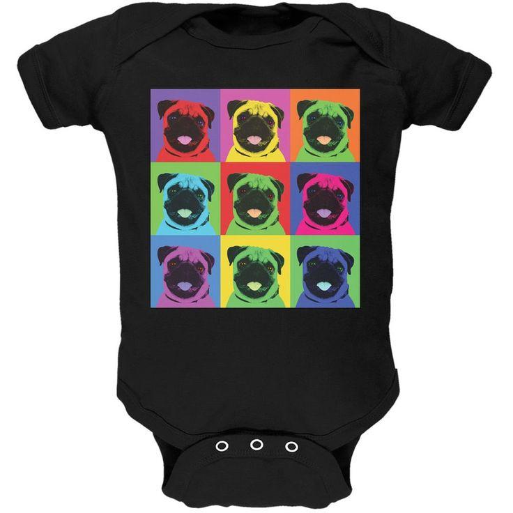 Pug Pop Art Repeating Squares Black Soft Baby One Piece