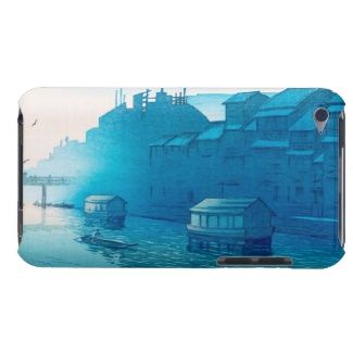 Morning at Dôtonbori, Osaka (Ôsaka Dôtonbori art Case-Mate iPod Touch Case  #Morning #Dôtonbori, #Osaka #Hasui #Kawase Shin #Hanga #japanese #art #oriental #customizable #gifts #accessories #gift #Japan #waterscape #vintage #emerald #blue #misty #river #souvenirs #travel