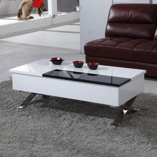 High Gloss Black And White Coffee Table With Capacious