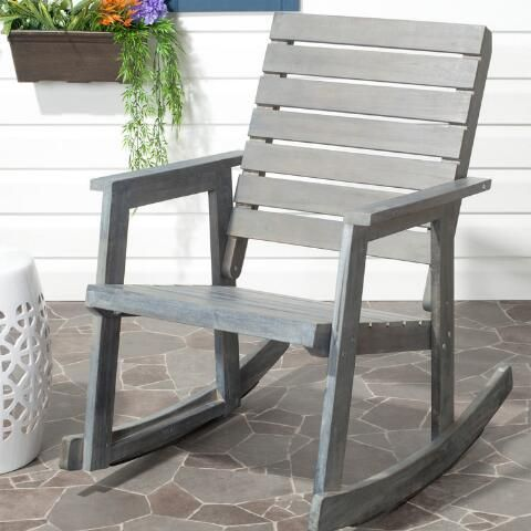 Great Safavieh Alexei Ash Gray Acacia Wood Patio Rocking   The Home Depot