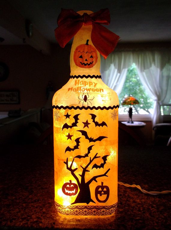 Halloween Wine Bottle Lamp by songbird58 on Etsy, $22.99