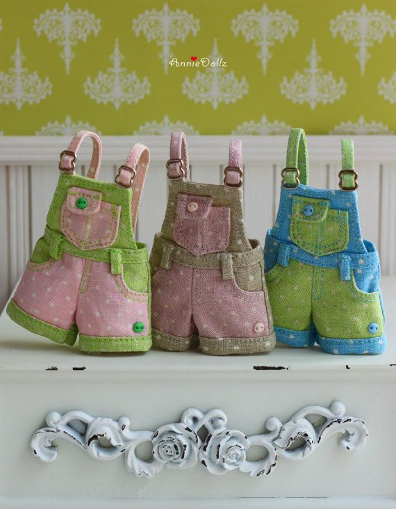 PO Anniedollz Blythe Outfits Short Pants Overalls by anniedollz