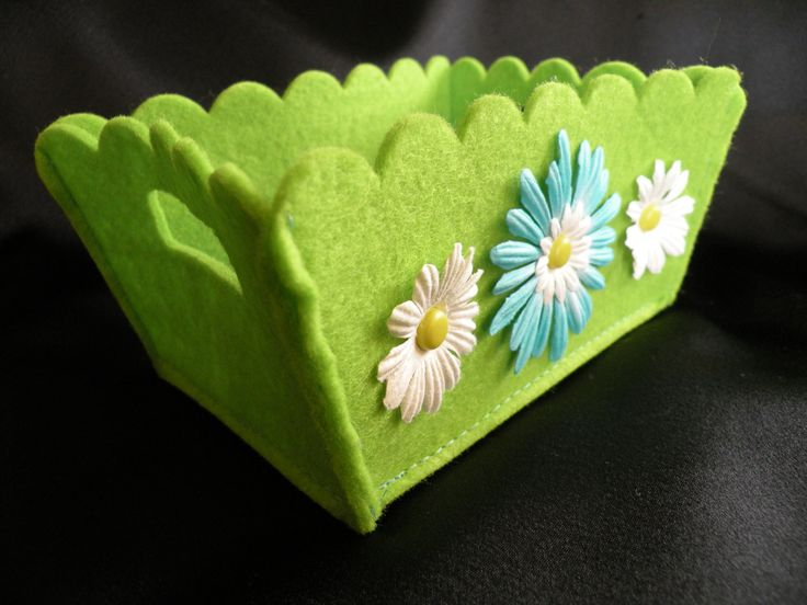 Lime Green Felt Basket