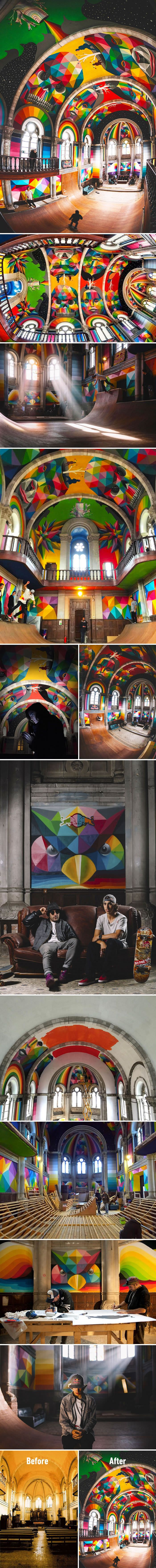 Artists Transformed A 100-Year-Old Church Into A Skate Park With Colorful…