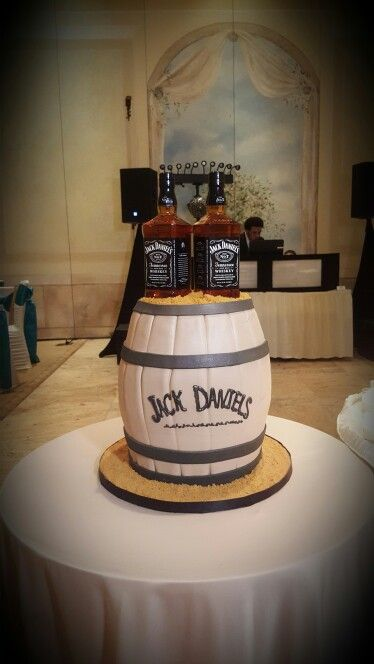 Grooms Cake With Jack Daniels Whiskey Bottles Whiskey