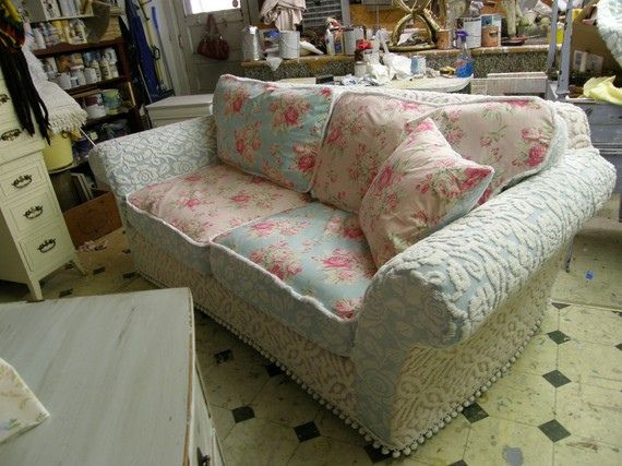 Shabby Chic Cottage Slipcovers | pink aqua roses chenille bedspread shabby chic slipcover sofa couch ...  Love the Chenille!!