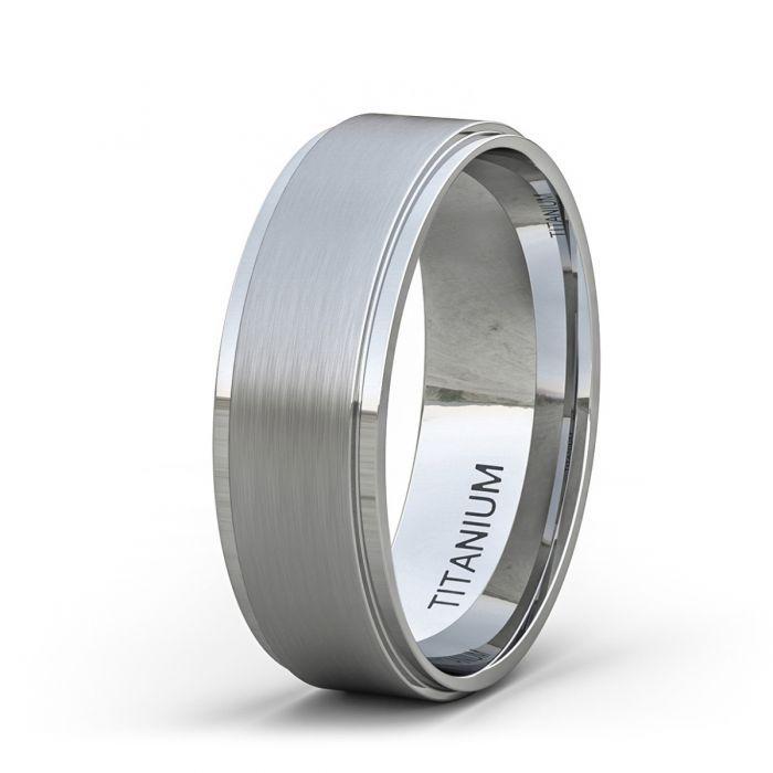 8mm Titanium Ring Classic Mens Wedding Band Brushed Surface Step