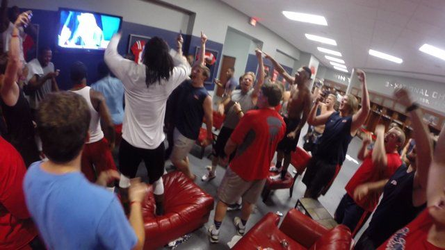 A look in the Ole Miss Football Locker Room as Ole Miss Baseball has the game winning walk off hit vs Texas Tech in the College World Series.