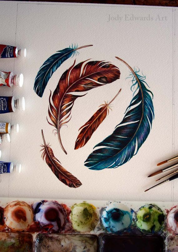 Feather Painting Original Watercolor by jodyvanB on Etsy