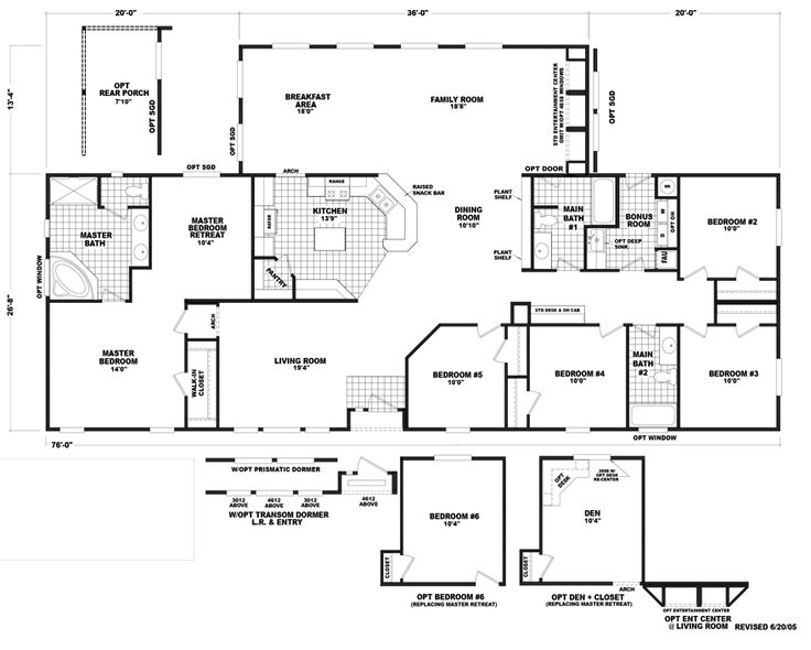 the auburn mobile home floor plan is a 40 x 76 2480 sqft triple wide - Mobile Home Designs
