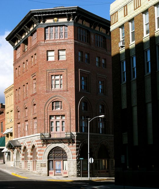 """Montana Club. Helena,Montana.  The historic """"Montana Club"""" in downtown Helena,Montana. On the right is a corner of the old 1st National Bank building. Now U.S. Bank."""