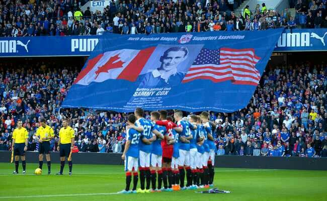 Ibrox honours the passing of Sammy Cox before the game against St. Mirren.