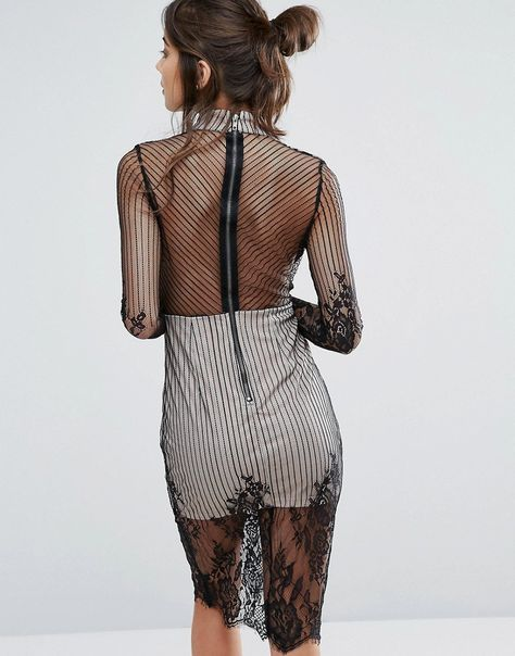 Love Triangle Mesh Long Sleeve Lace Overlay Dress With Choker Neck - B