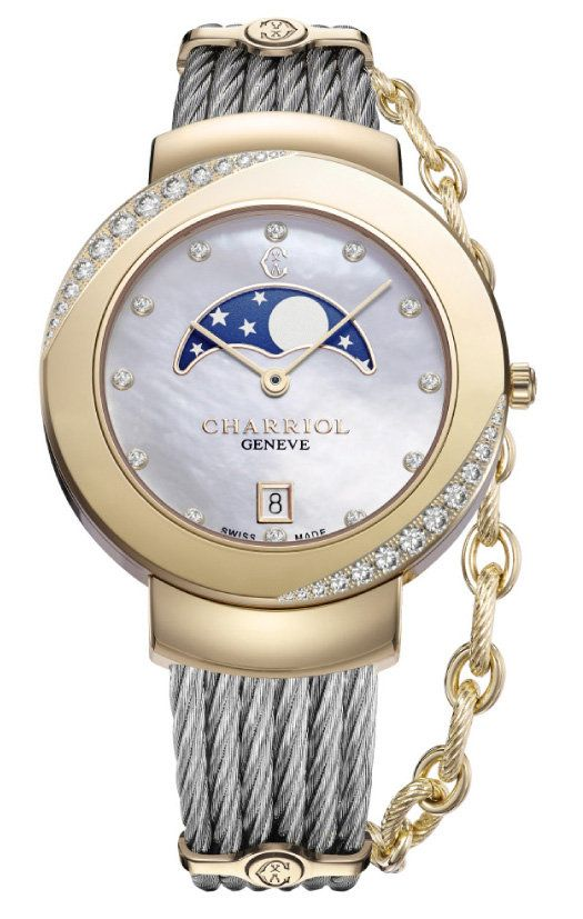 Thomann Gold - Charriol St-Tropez Watch 35 mm - Moonphase Yellow