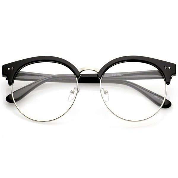 Women's Round Half Frame Clear Lens Cat Eye Glasses C023 (£12) ❤ liked on Polyvore featuring accessories, eyewear, eyeglasses, glasses, clear lens glasses, cat eyeglasses, round eyeglasses, clear eyeglasses and round glasses