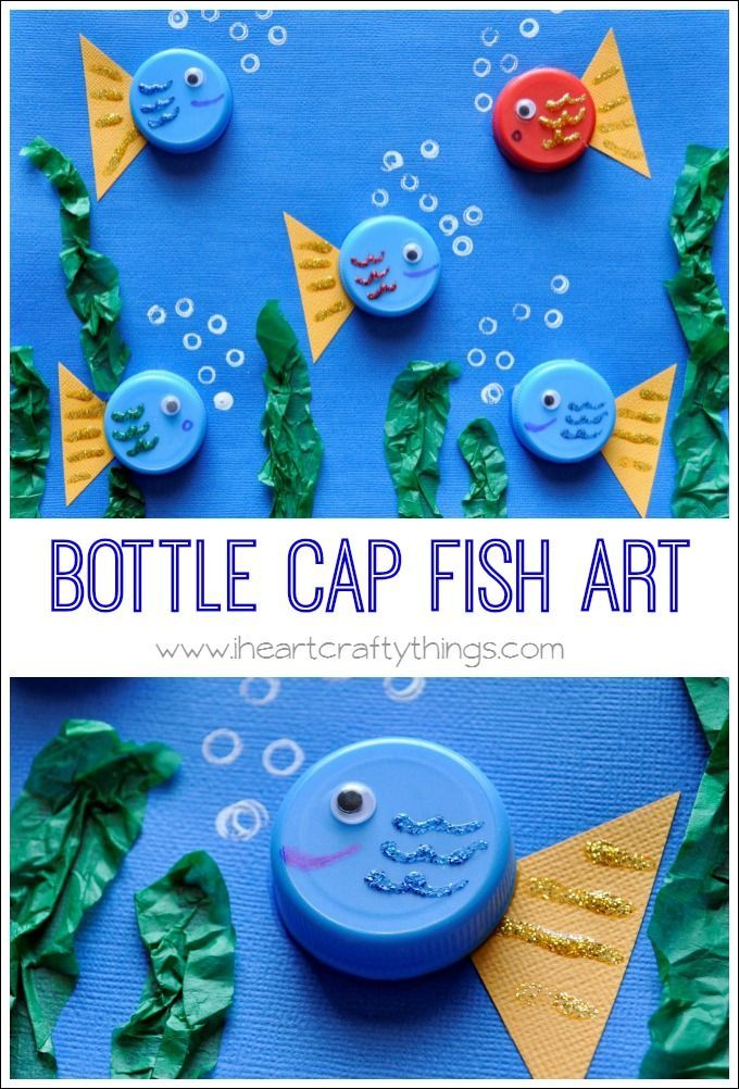 Use bottle caps to create this darling Fish Art Craft. | From I Heart Crafty Things