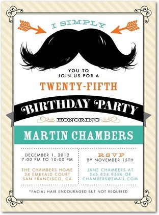 Adult Birthday Party Invitations Magnificent Mustache - Front : Eggshell