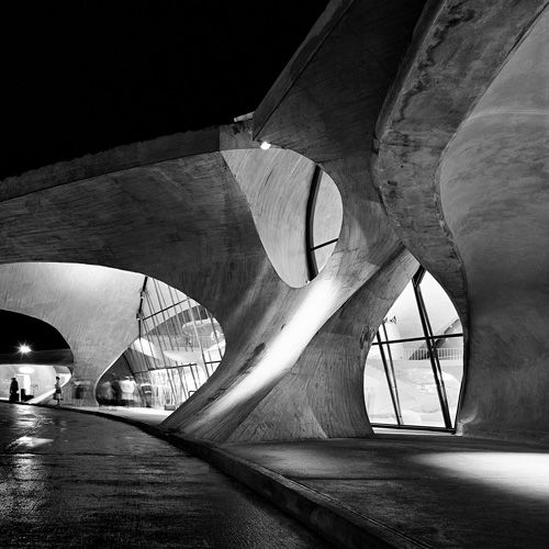 """Eero Saarinen, TWA Flight Center, New York Idlewild Airport  New York, 1956–62  Photographs byBalthazar Korab    """"This is my classic image of the project that reveals the complexity of the Saarinen approach to a four-dimensional experience in this space.""""     FromBalthazar Korab: Architect of Photography"""