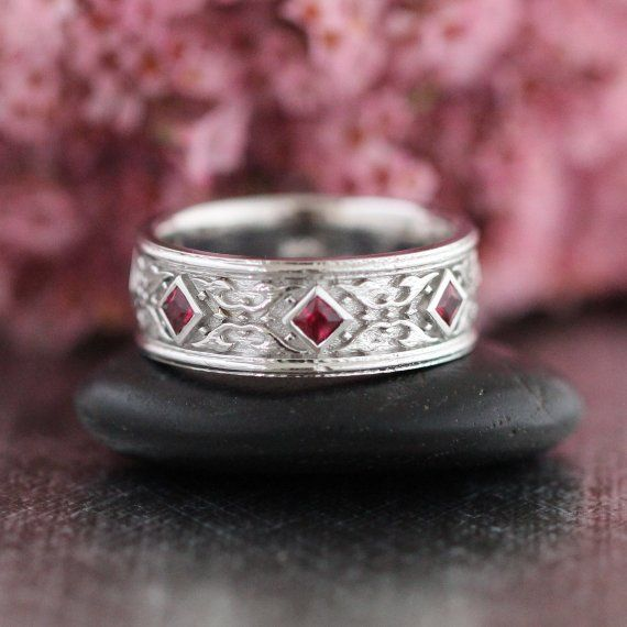 Celtic Wedding Band Princess Cut Ruby Ring In 14k White Gold