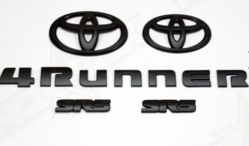 Pure 4Runner Accessories 4Runner SR5 Emblem Kit - 2014+ [4R-SR5-BLKOUT-KIT] - Give your 4Runner that Las Vegas SEMA Show look. Blacking out your 4Runner is the style. In partnership with Toyota, we offer Plastic Black Emblem Overlays in Matte Black as a Set. It's the perfect upgrade and slightly, but distinctly gives your 4Runner a custom look. Note: These are GENUINE