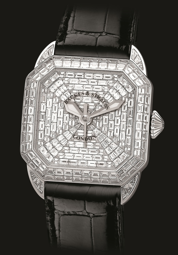 The Berkeley Prince has 265 diamonds weighing 18.45 carats, there are 264 bespoke cut   baguette diamonds, invisibly hand set. The Case is adorned with 100 baguette cut diamonds   weighing 8.13 carats and the Dial with 164 baguette cut diamonds weighing 10.20 carats. Discover more on www.backesandstrauss.com