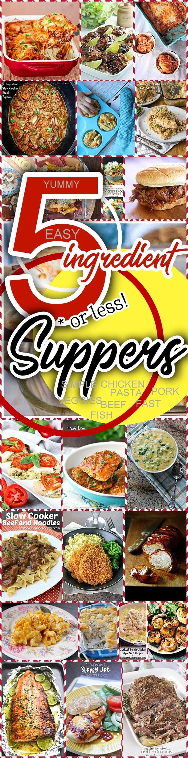 Easy 5 Ingredients or LESS Recipes for Simple Family Suppers Lunch and Dinner Chicken Pork Beef Fish Shrimp and Pasta Quick Favorites via Dreaming in DIY #5ingredientsuppers #5ingredientmeals #5ingredientdinners #5ingredientlunches #5ingredientrecipes #easyrecipes #quickrecipes #simplefamilyrecipes #simplefamilymeals