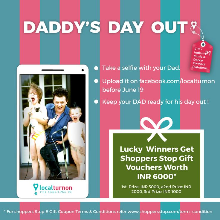 "Hey folks! On the occasion of Father's Day (June 19) Localturnon gives you an opportunity to take your DAD OUT for shopping at Shoppers Stop with its event ""DADDY'S DAY OUT"".  Yes, you heard that right. Lucky winners stand a chance to win Shoppers Stop gift vouchers worth INR 6000.00 !!  The rules are simple. Just post a selfie of you and your Dad on our page or in the comments box of this post before 19th June and you could be one of our lucky winners !"