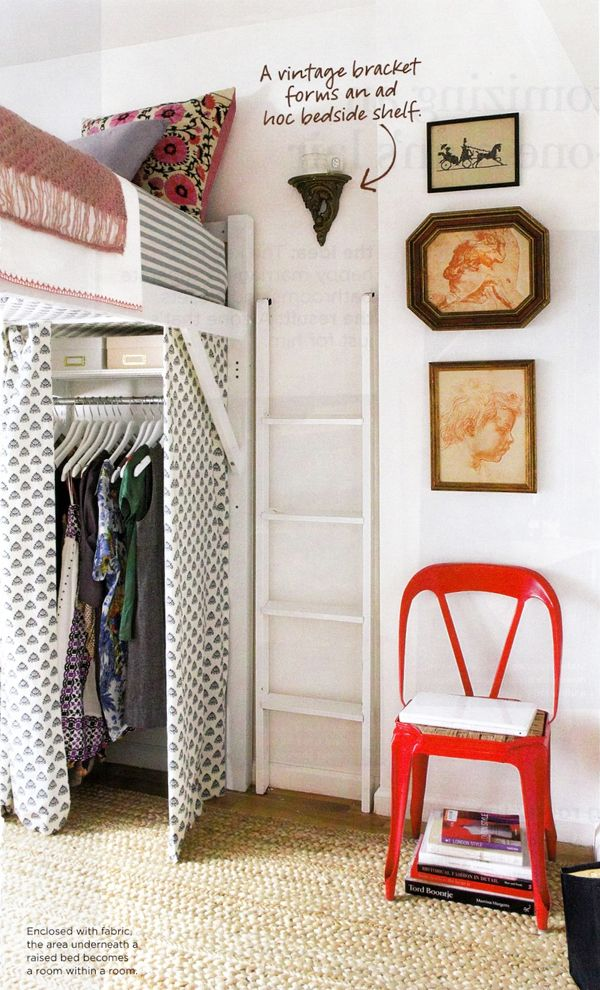 Loft your bed. | 25 Brilliant Lifehacks For Your Tiny Closet