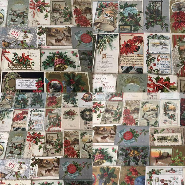 Nice Huge Estate Lot of 75 Vintage Christmas Holiday Postcards-in Sleeves-p569 #Christmas