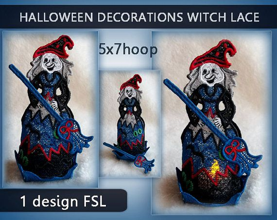 Witch lace candle FSL  Halloween  free standing by EmbroideryRady