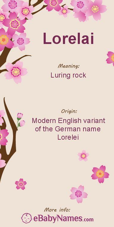 "Meaning of Lorelai: This is a common English respelling of Lorelei, which is a Germanic name derived from an older name that meant ""luring rock"""