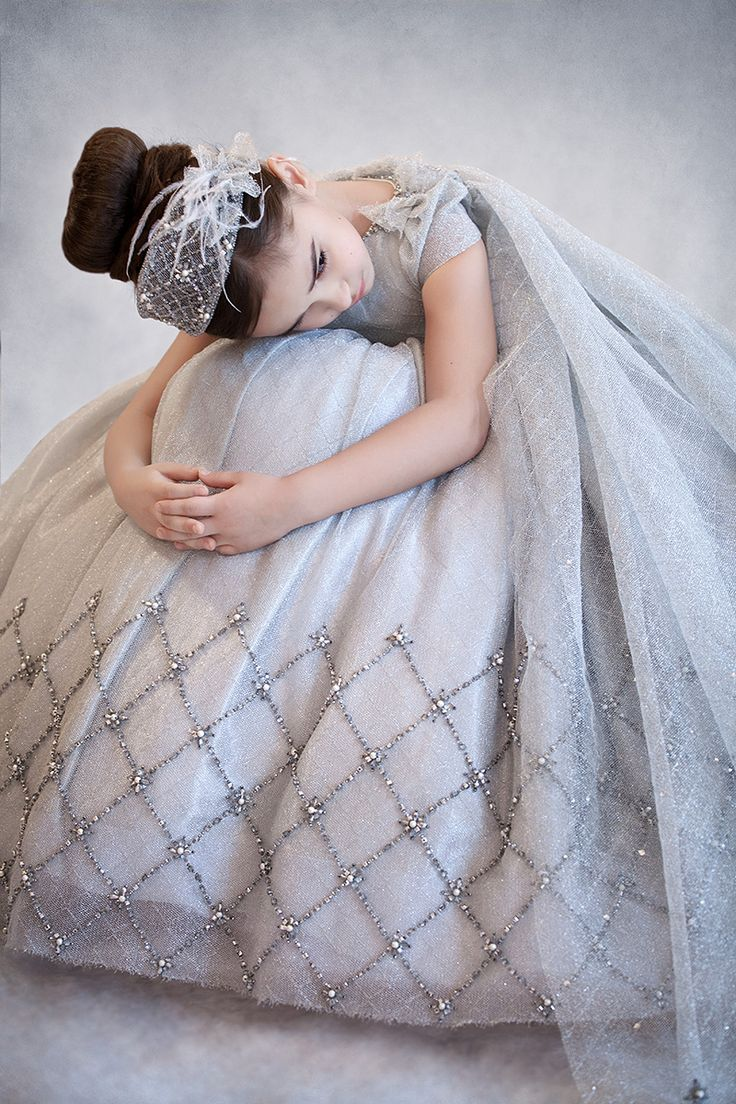 French #lace #dress with #handmade #embroidery.   #hautecouture #embellishment #princess #girl #dress #gown #festive #silver #headpiece #hairstyle