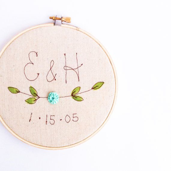 Personalized Wedding Gift Embroidered Hoop Wall di mamableudesigns, $39.00