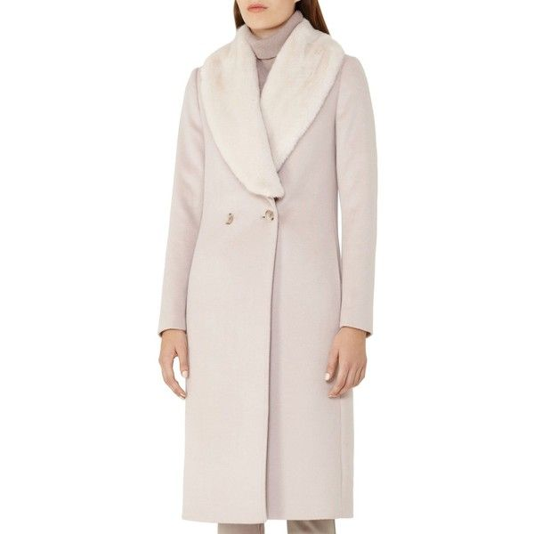 Reiss Franchesca Faux-Fur Shawl-Collar Coat (918,760 KRW) ❤ liked on Polyvore featuring outerwear, coats, cloud, reiss, reiss coat, faux fur collar coats, pink coat and woolen coat