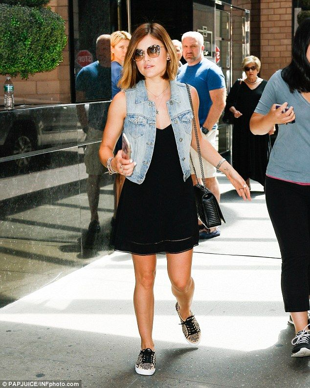 Lucy Hale shows off tanned and toned pins in flirty LBD and sneakers #dailymail
