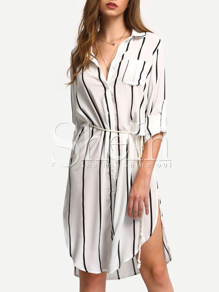 Shop Black White Vertical Stripe Pocket Split Shirt Dress online. SheIn offers Black White Vertical Stripe Pocket Split Shirt Dress & more to fit your fashionable needs.