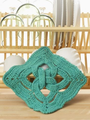 Celtic Knot dishcloth   Yarn   Free Knitting Patterns   Crochet Patterns   Yarnspirations