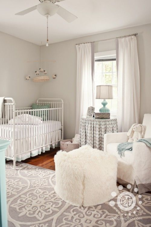 Gender Neutral Grey and Turquoise Nursery