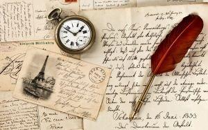 Просмотреть обои винтаж, старая бумага, перо, часы, письма, марка, открытка