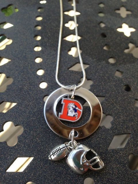 NFL Broncos Necklace Customizable by LCBeads2wear on Etsy, $25.00