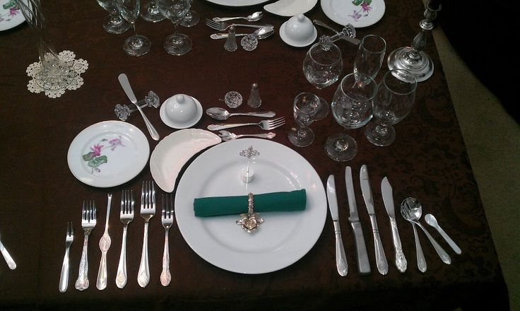 Formal Place Setting 12 Course Dinner Caviar Escargot