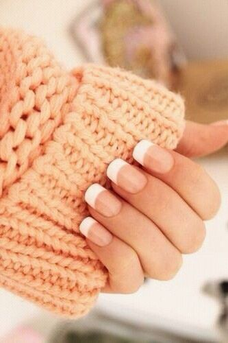 Round french tip nails