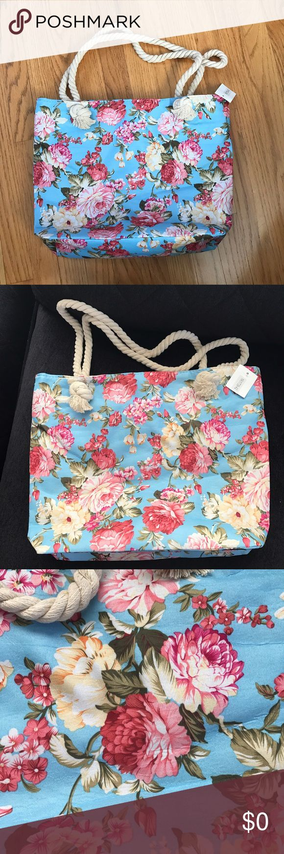 Floral Tote Bag FREE W/ANY Purchase,2 available 🌺 Adorable  light blue floral tote bag comes as a free gift with any purchase, just let me know in a comments you would like to have it , ONLY 2 AVAILABLE , so will be shipped to the authors of the first 2 comments down below 🌺🤗 Bags Totes