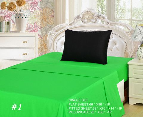 Add a spark of color to your bed set, With our Lime colored bedding. Great for a summer theme, of just brightening up your room.