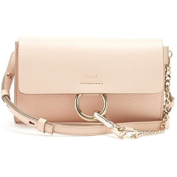 Chloé Faye mini leather and suede cross-body bag (¥81,580) ❤ liked on Polyvore featuring bags, handbags, shoulder bags, light pink, leather shoulder handbags, crossbody handbag, leather shoulder bag, chloe shoulder bag and leather crossbody