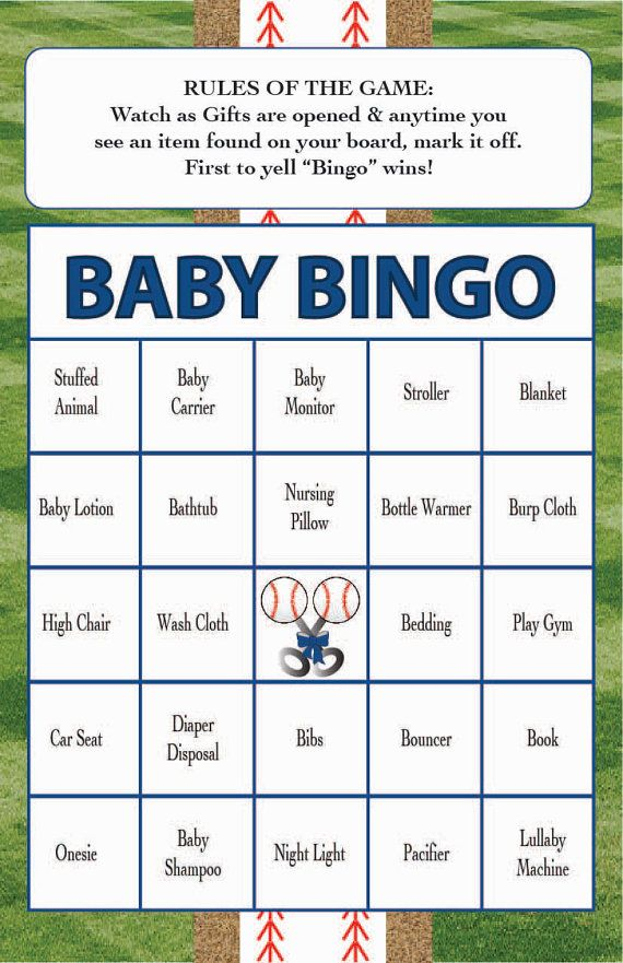 baby shower bingo game baseball theme instant digital downloadset of 40custom available