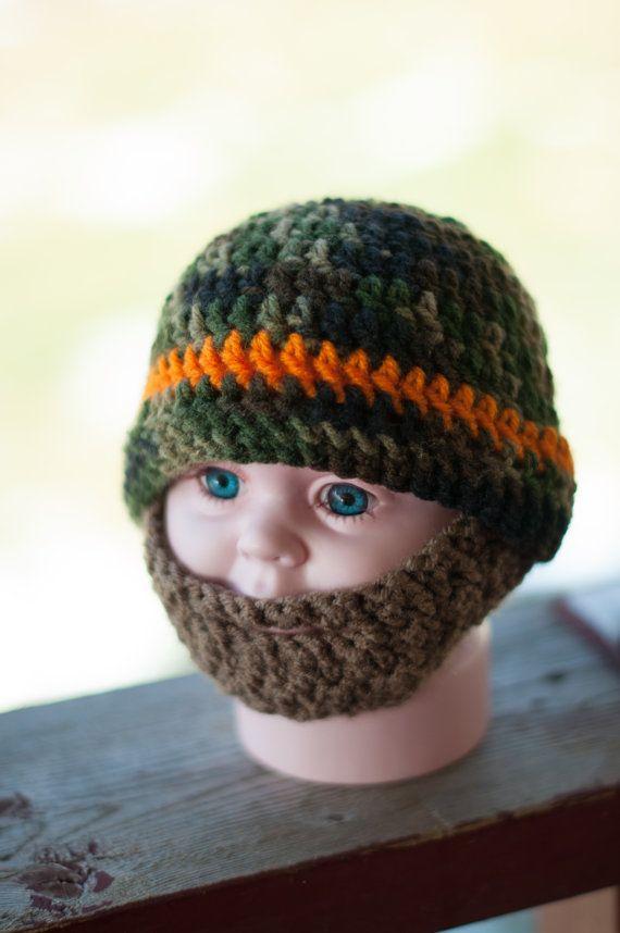 Crochet Camo Beard Hat Baby beard hat by TheresasCrochetShop Camo Beardo Hat with Beard